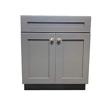 Image of Home Improvements 36' Wide x 21' Deep New Grey Shaker Single-Sink Bathroom Vanity Base Cabinet GS-V3621