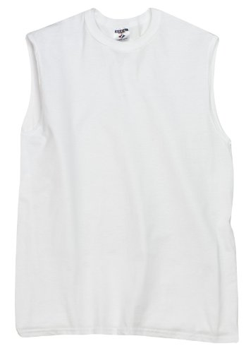 Adult T-shirt Sleeveless Jerzees (Jerzees Hidensi-T Adult Sleeveless Tee S White)