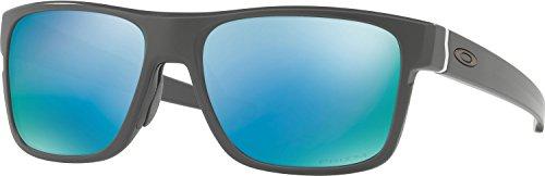 Oakley Men's Crossrange Polarized Iridium Square Sunglasses, Matte Dark Grey with Prizm Deep Water Polarized, 57 - Water Deep Polarized Prizm Oakley