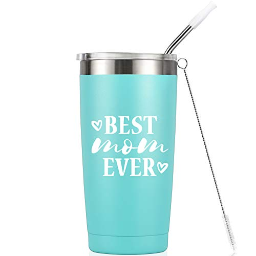 Best Mom Ever I Birthday Mug Tumbler I Vacuum-Insulated Stainless Steel Mug Tumbler with Lid, Mothers Day Birthday Gifts for Mom Wife, 20-Ounce Mint (Best Mom Ever Birthday)