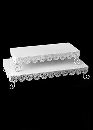 (Afloral Set of 2 White Metal Rectangle Eyelet Cake Stands - 14.5-17.5