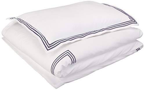 - AmazonBasics Embroidered Hotel Stitch Duvet Cover Set - Premium, Soft, Easy-Wash Microfiber - Twin/Twin XL, White with Navy Blue Embroidery