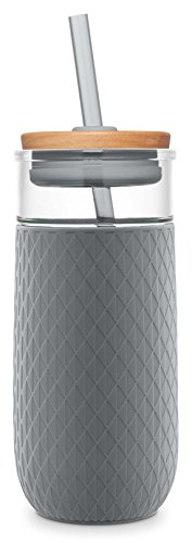 Ello Devon 20oz Glass Tumbler with Straw and Silicone Boot (Grey) ()