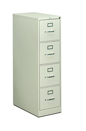 Light Gray Vertical 4 Drawer (HON 4-Drawer Office Filing Cabinet - 310 Series Full-Suspension Letter File Cabinet, 26.5