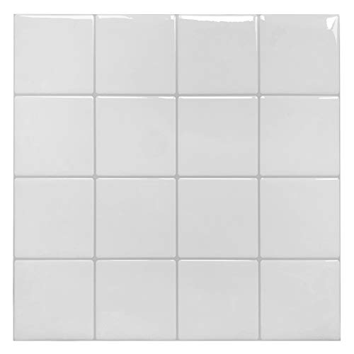 Peel and Stick Kitchen Backsplash Tiles, White Decorative Tile, (10 - Decorative Tiles Bathroom