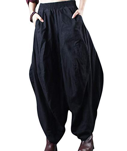 - YESNO PGW Women Casual Elastic Waist Bloomers Hippie Harem Pants Drop Crotch/Pockets