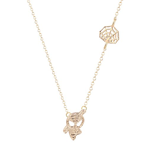 Dwcly Cute Cartoon Spider Man with Charm Web Necklace Cool Jewelry for Kids (Gold)]()