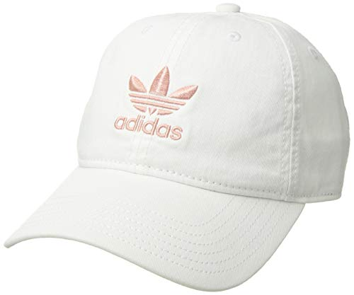 (adidas Women's Originals Relaxed Adjustable Strapback Cap, white/pink spirit, One Size)