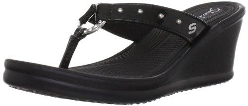 Skechers Cali Women's Kitty Wedge Sandal,Black,9 M US ()