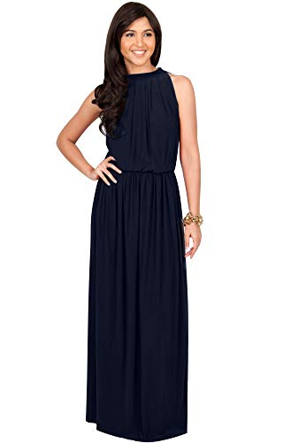 (KOH KOH Petite Womens Long Sexy Sleeveless Bridesmaid Halter Neck Wedding Party Guest Summer Flowy Casual Brides Formal Evening A-line Gown Gowns Maxi Dress Dresses, Dark Navy Blue S 4-6)