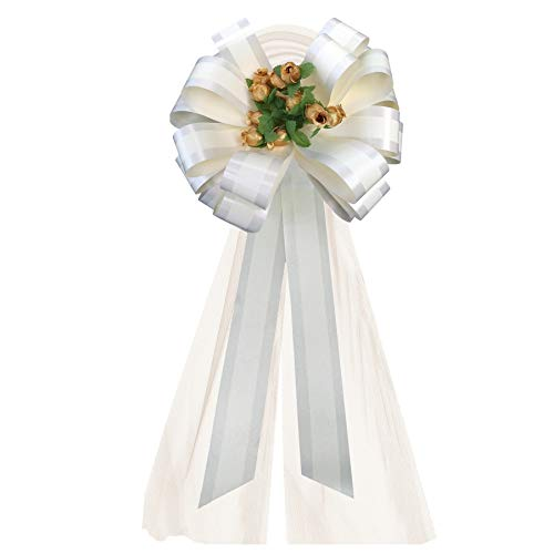 Rose Wedding Pew Bows - Ivory Striped Wedding Pull Bows with Tulle Tails and Gold Rosebuds - 8