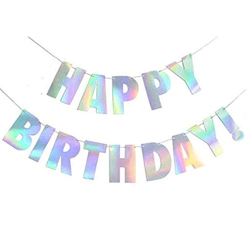 Iridescent Party Supplies, Sparkle Pink Gold Silver Shiny Happy Birthday Banner Bunting Garland for Baby Shower,Kids Birthday Party Decorations Unicorn Party ()