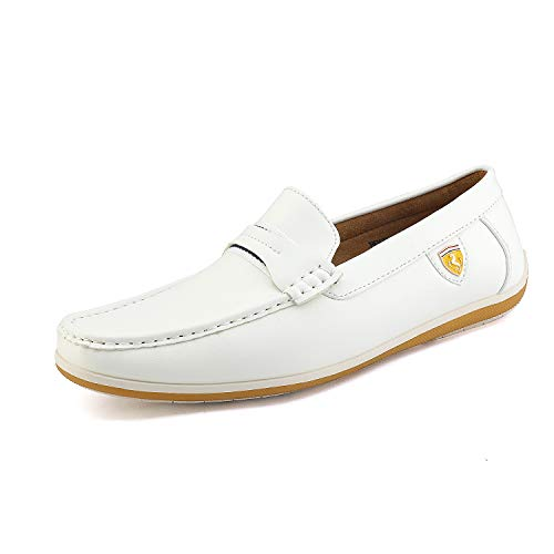 - Bruno Marc Men's BUSH-01 White Driving Loafers Moccasins Shoes - 13 M US