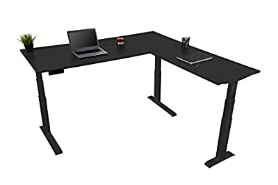 """Triple Motor Electric L Shaped Desk/Standing Desk with EZ Assemble Frame   Assembles in Minutes   Extra Weight Capacity (71"""") (Black)"""
