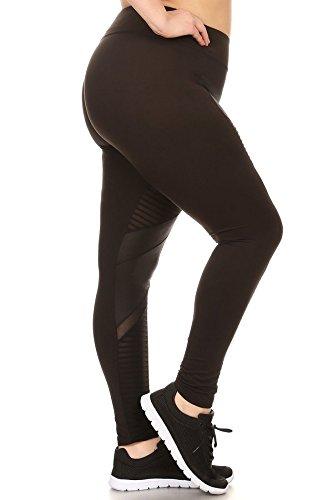 Womens Plus Size Yoga Leggings Pants Solid Sports Bottoms PU Faux Leather Moto Mesh Panels Black 1X