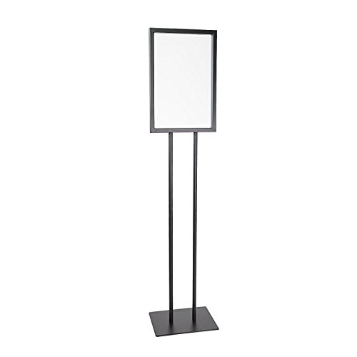 Source One Deluxe 11 x 17 Inch Floor Standing Sign Holders Black Heavy Duty Weighted Metal (11 X 17 Inch, Black)