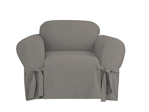 Linen Store Microsuede Slipcover Furniture Protector Cover, Grey, Chair