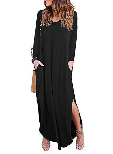 - YI-CHENG Women's V-Neck Dress Long-Sleeved Evening Dress Long Section (Large, Black)