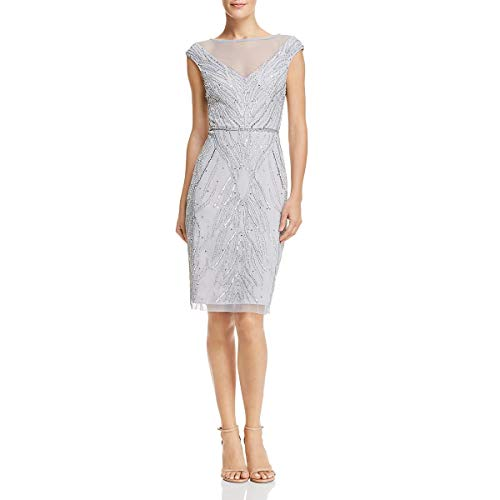 Adrianna Papell Womens Knee-Length Embellished Cocktail Dress Blue 16 from Adrianna Papell