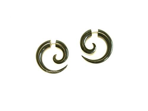 Small Horn Tribal Spirals Fake Taper Earrings for Men or Women