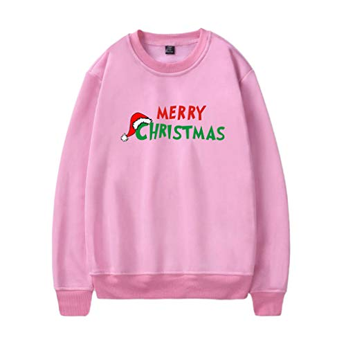 Xinantime Couples Simple Long Sleeve Sweatshirt Blouse Christmas Letter Printing Pullover Jumper Shirt -