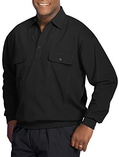 Harbor Bay by DXL Big and Tall Long-Sleeve Mesh Panel Banded-Bottom Shirt (2XL, Black)