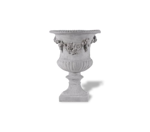 Amedeo Design ResinStone 2509-23G Rose Urn, 17 by 17 by 24-Inch, Lead Gray (Rose Antique Urn)