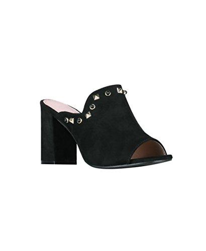KRISP Zapatos Mujer Tacón Verano 2018 Zuecos Cómodos Sandalias Negro (2343)
