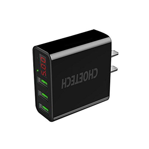 CHOETECH USB Cargador Pared Pantalla LED 3-Puertos Wall Charger para iPhone XS/XR/XS MAX/ 8/8 Plus, Galaxy Note 8 / S8/S8...