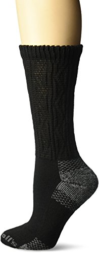 Dr. Scholl's Women's Advanced Relief Diabetic & Ciculatory Crew Socks (2 Pack), Black/Gray, Shoe Size: 4-10