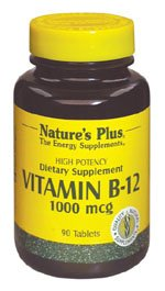 Natures Plus Vitamin B12 (Methylcobalamin) - 1000 mcg, 90 Vegetarian Tablets - High Potency Supplement, Energy Booster, Memory Enhancer, Mood Support- Gluten Free - 90 Servings