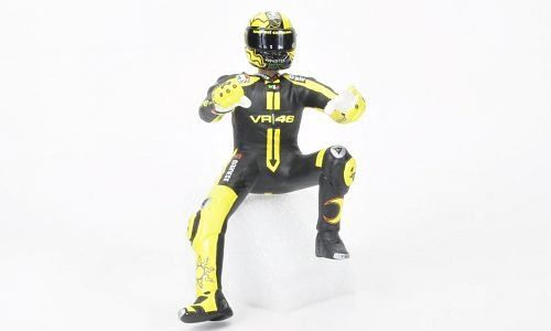 FIGURINE of VALENTINO ROSSI DUCATI TEST MOTOGP STARTING STANCE ON BIKE in 1:12 Scale by Minichamps -