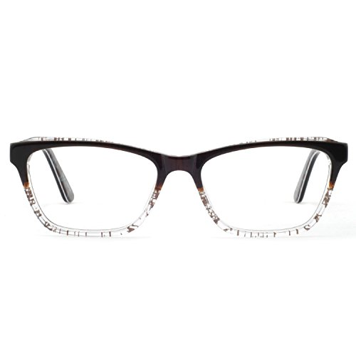 OCCI CHIARI Womens Rectangle Double Color Fashion Eyewear Frame Clear Lens (Brown, 53-15-140) ()