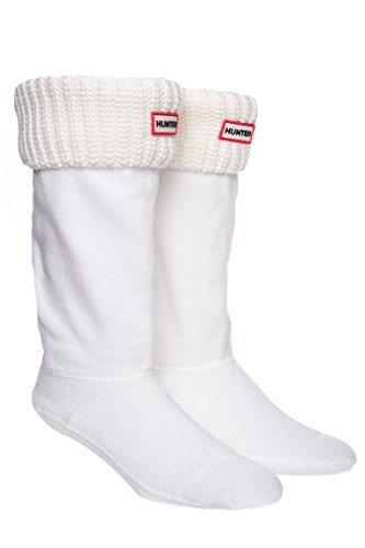Hunter Half Cardigan Boot Socks for Tall Hunter Boots, White Large (US 8-10)