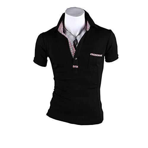 KMAZN ポロシャツ メンズ 半袖 カットソー ゴルフウェア Tシャツ カジュアル コーデ 黒 春 夏 秋 トップス