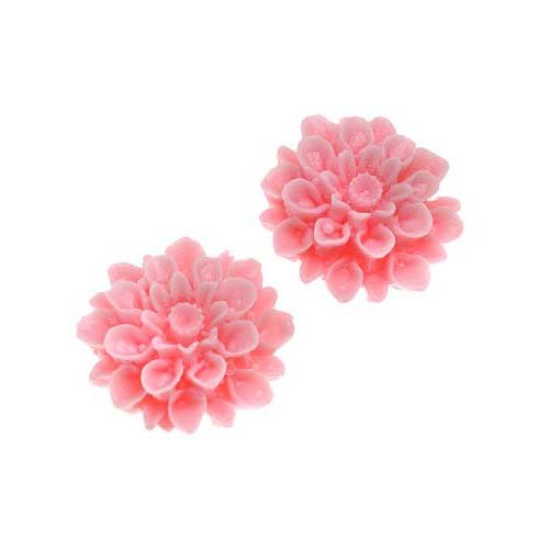 Vintage Style Jewelry, Retro Jewelry Beadaholique Vintage Style Opaque 2-Piece Lucite Cabochons Chrysanthemum Mum Flower Beads 16mm Pink $2.99 AT vintagedancer.com