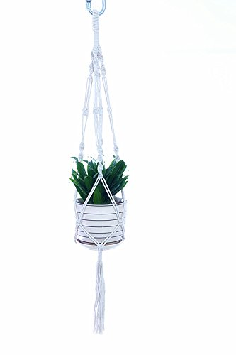 Asgens Cotton Plant Hanger Macrame 4 Legs Plant Holder for Indoor Outdoor Ceiling Deck Balcony Round and Square Pots, 40 inches (Macrame White)