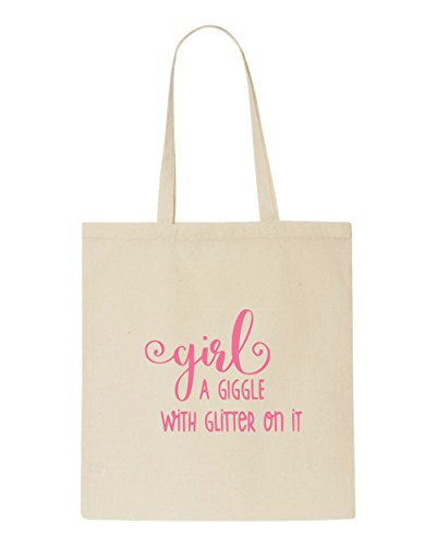 On Tote Shopper Statement Bag Definition Glitter With Girl Giggle It Beige A pqXwSnxB