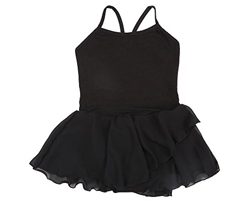 Stelle Girls' Cotton Camisole Dance Dress Ballet Dress Leotard (S, Black) - Skirt Dancewear