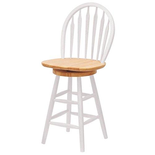 Winsome Wood 24-Inch Windsor Swivel Seat Barstool, Natural/White - Back Windsor Swivel Bar Stool