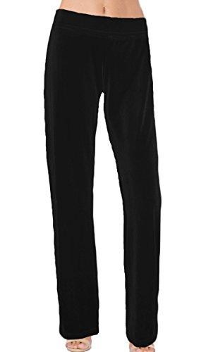 (Ooh la la Stretch Velvet Special Occasion Full Length Straight Leg Dress Pant 202320XL Black Straight Leg)