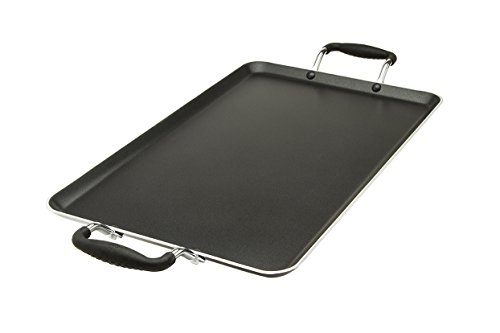 "Ecolution Artistry Non-Stick Double Burner Griddle – Pure Heavy-Gauge Aluminum with a Soft Silicone Handle, Dishwasher Safe, Black, 12"" x 18"""