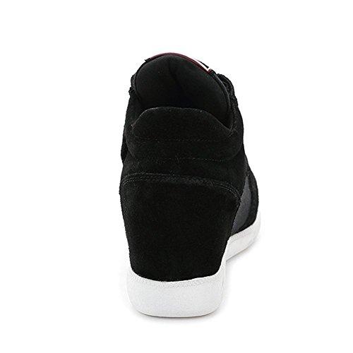 Shenn Femmes Classique Milieu Invisible Talon Compensé Suède Plus Haut Velcro Mode Baskets Noir 5516 EU38.5