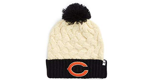 ('47 Chicago Bears Women's 2-Tone Matterhorn Beanie Hat with Pom - NFL Ladies Cuffed Winter Knit Toque Cap )