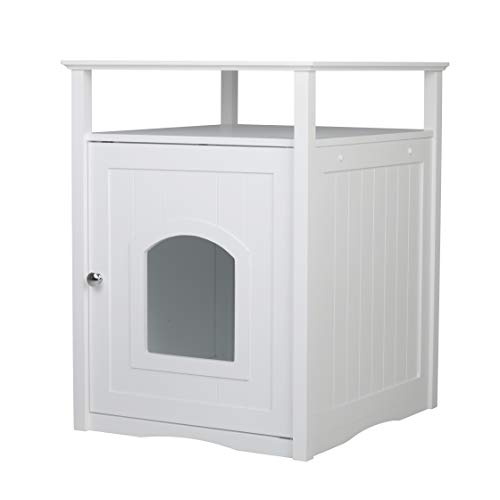 (Merry Pet Cat Washroom Litter Box Cover/Night Stand Pet House, Glossy White)