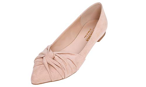 Feversole Women's Pointed Toe Bow Tie Trim Fashion Ballet Flat