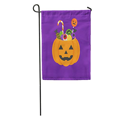 Semtomn Garden Flag Jack O Lantern Bowl of Halloween for Trick Treat Home Yard House Decor Barnner Outdoor Stand 28x40 Inches Flag]()