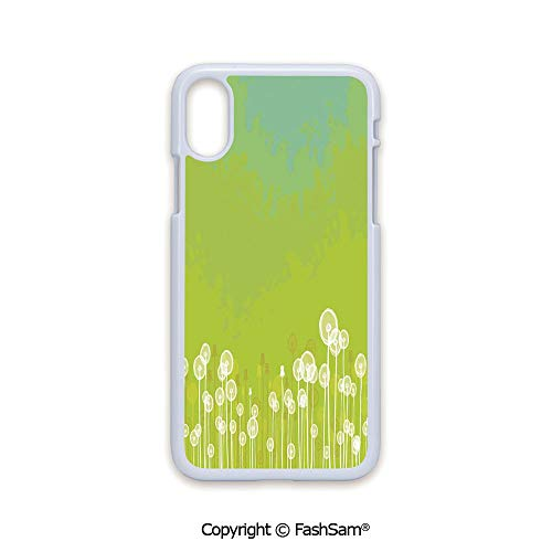 (Fashion Printed Phone Case Compatible with iPhone X Black Edge Dandelion Flower Pattern Wild North American Flowering Plant Summertime Art 2D Print Hard Plastic Phone Case)