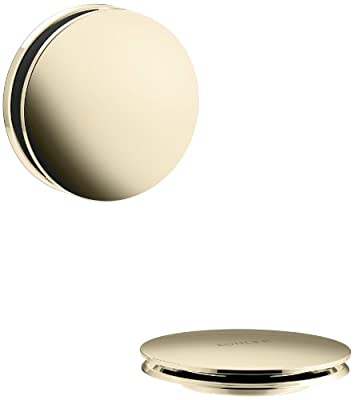 KOHLER K-T37395-AF PureFlo Cable Bath Drain Trim with Contemporary Push Button Handle, Vibrant French Gold