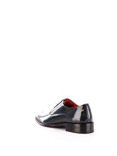 Base London Mens Bexley Hi-Shine Lace Up Leather Smart Oxford Shoes Navy